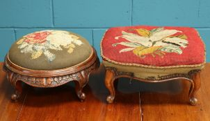 TWO VICTORIAN MAHOGANY AND UPHOLSTERED FOOTSTOOLS