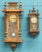 A LATE 19TH CENTURY WALNUT CASED VIENNA STYLE WALL CLOCK