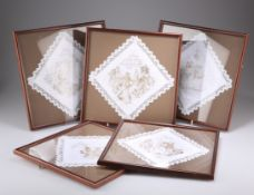 A GROUP OF FIVE CHARLES DICKENS PICKWICK PAPERS PRINTED LACE EDGED HANDKERCHIEFS