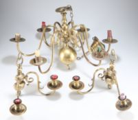 AN EARLY 19TH CENTURY SIX BRANCH BRASS CANDELABRA AND WALL SCONCES