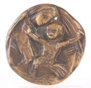 BRONZE MEDALLION OF A MOTHER AND CHILD