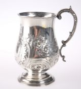 A 19TH CENTURY SILVER PLATED BALUSTER TANKARD