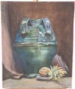 H.D. ROBERTSON, STILL LIFE OF A EWER AND PINEAPPLE