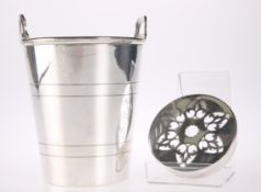 A PLAIN SILVER-PLATED TWO HANDLED ICE PAIL