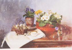 PAMELA KAY (20TH CENTURY), STILL LIFE OF QUAIL EGGS AND PRIMROSES