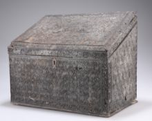 A 19TH CENTURY CARVED HARDWOOD BOX