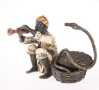 AFTER FRANZ BERGMAN, A COLD-PAINTED BRONZE OF A SNAKE CHARMER