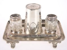 AN ELKINGTON & CO SILVER-PLATED INKWELL