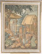 A 20TH CENTURY BALINESE, VILLAGE SCENE WITH FIGURES