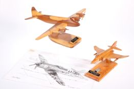 TWO WOODEN AVIATION MODELS ETC.