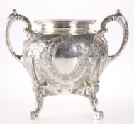 A LARGE SILVER PLATED TWO HANDLED SUGAR BOWL