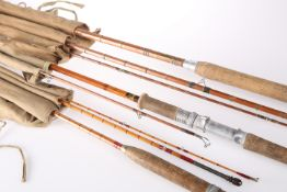THREE SPLIT CANE FISHING RODS