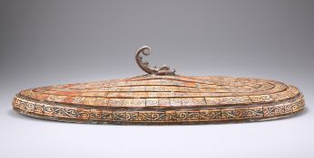 AN USUAL STAINED BONE TUREEN/BOWL LID