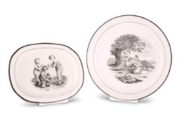 A NEW HALL BAT PRINTED SAUCER DISH AND TEAPOT STAND