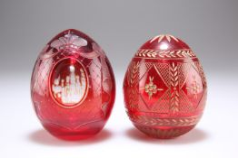 A 20th CENTURY RUSSIAN FABERGE RUBY GLASS EGG