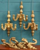 A SET OF SIX 19TH CENTURY GILTWOOD TWO-LIGHT WALL SCONCES