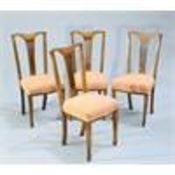 A SET OF FIVE EDWARDIAN INLAID DINING CHAIRS
