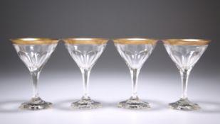"A SET OF FOUR ART DECO BACCARAT ""COMPIEGNE"" COCKTAIL GLASSES, CIRCA 1920"