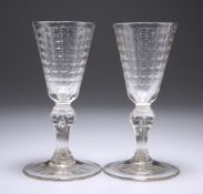 A PAIR OF 18TH CENTURY WINE GLASSES