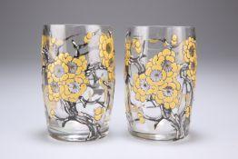 A PAIR OF ART DECO DELVAUX GLASS TUMBLER VASES