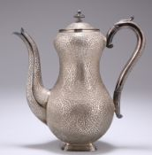 AN INDIAN SILVER COFFEE POT