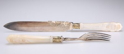 A VICTORIAN SILVER, SILVER-GILT AND MOTHER-OF-PEARL SERVING KNIFE AND FORK