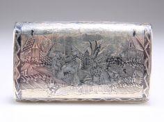 A 19TH CENTURY RUSSIAN SILVER NIELLO SNUFF BOX