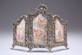 A VIENNESE SILVER AND ENAMEL TRIPTYCH TABLE SCREEN