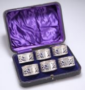 A GOOD SET OF SIX GEORGE V SILVER NAPKIN RINGS