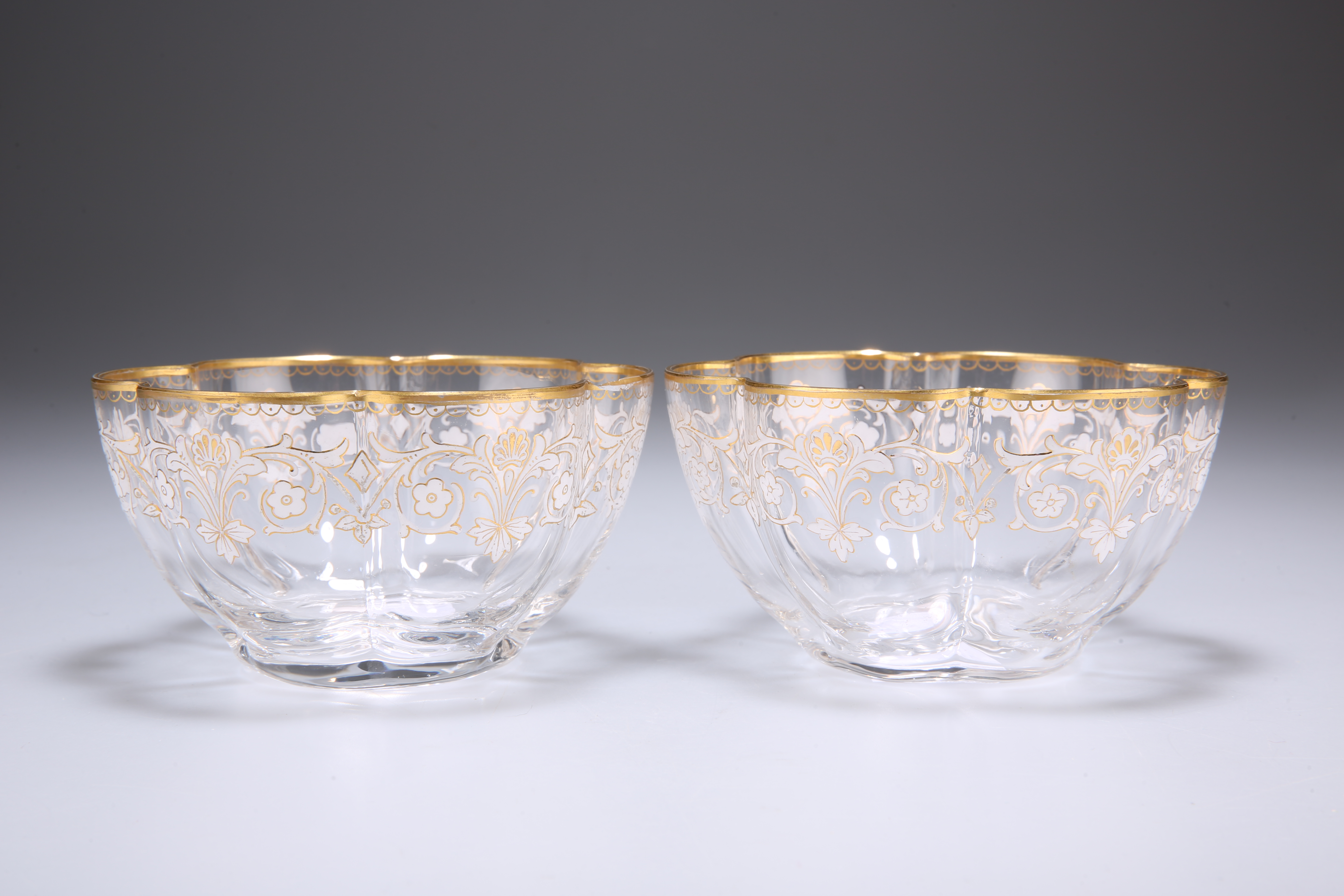 A PAIR OF ENAMELLED AND GILDED LOBED BOWLS