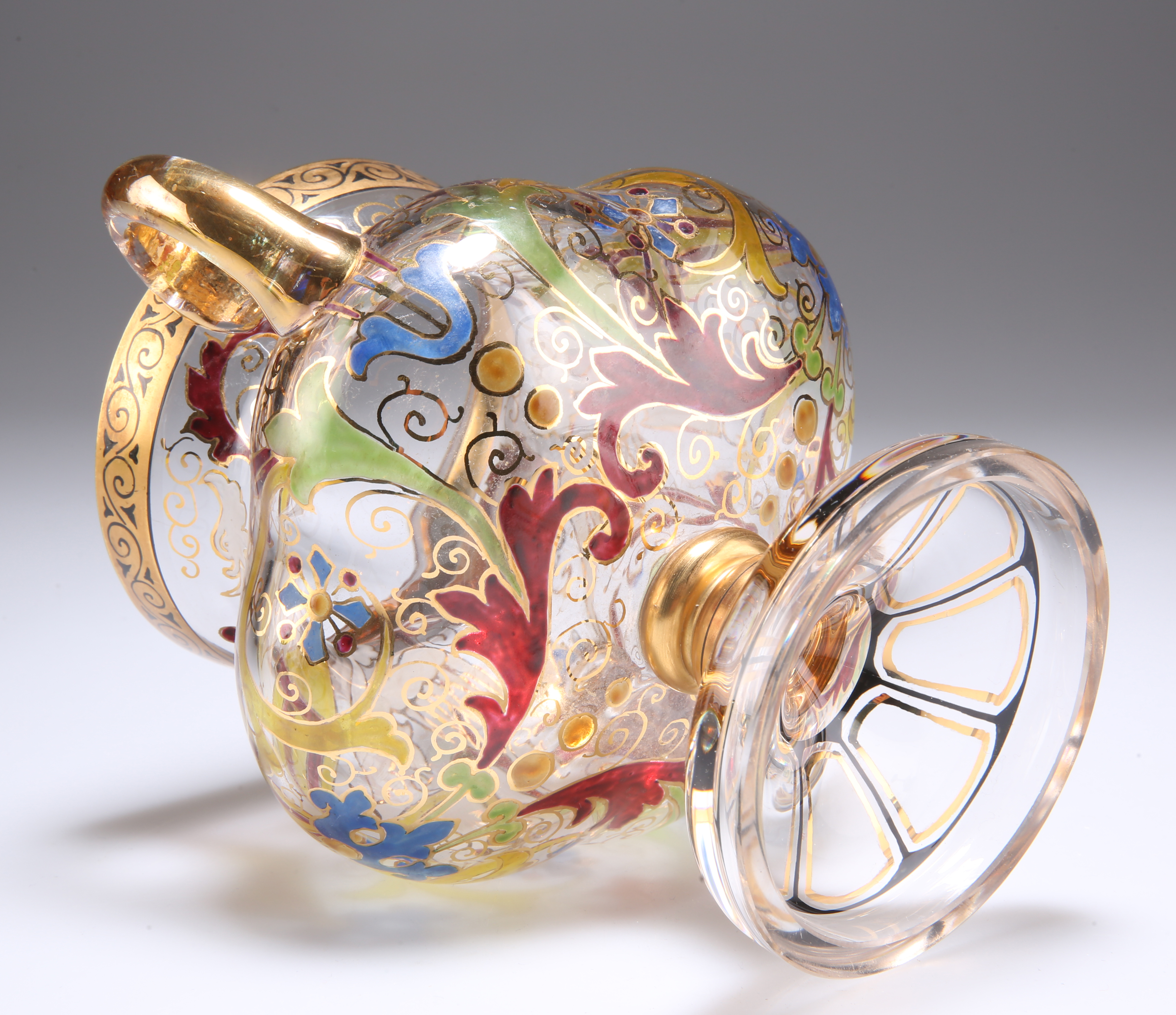 A BOHEMIAN STEINSCHONAU ART NOUVEAU TWO-HANDLED GLASS CUP - Image 5 of 6