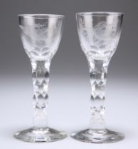 TWO JACOBITE STYLE CORDIAL GLASSES, POSSIBLY WHITEFRIARS