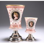 TWO CONTINENTAL OPALINE GLASS AND SILVER BEAKER CUPS
