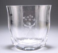 AN ORREFORS GLASS VASE, DESIGNED BY EDVIN OHRSTROM
