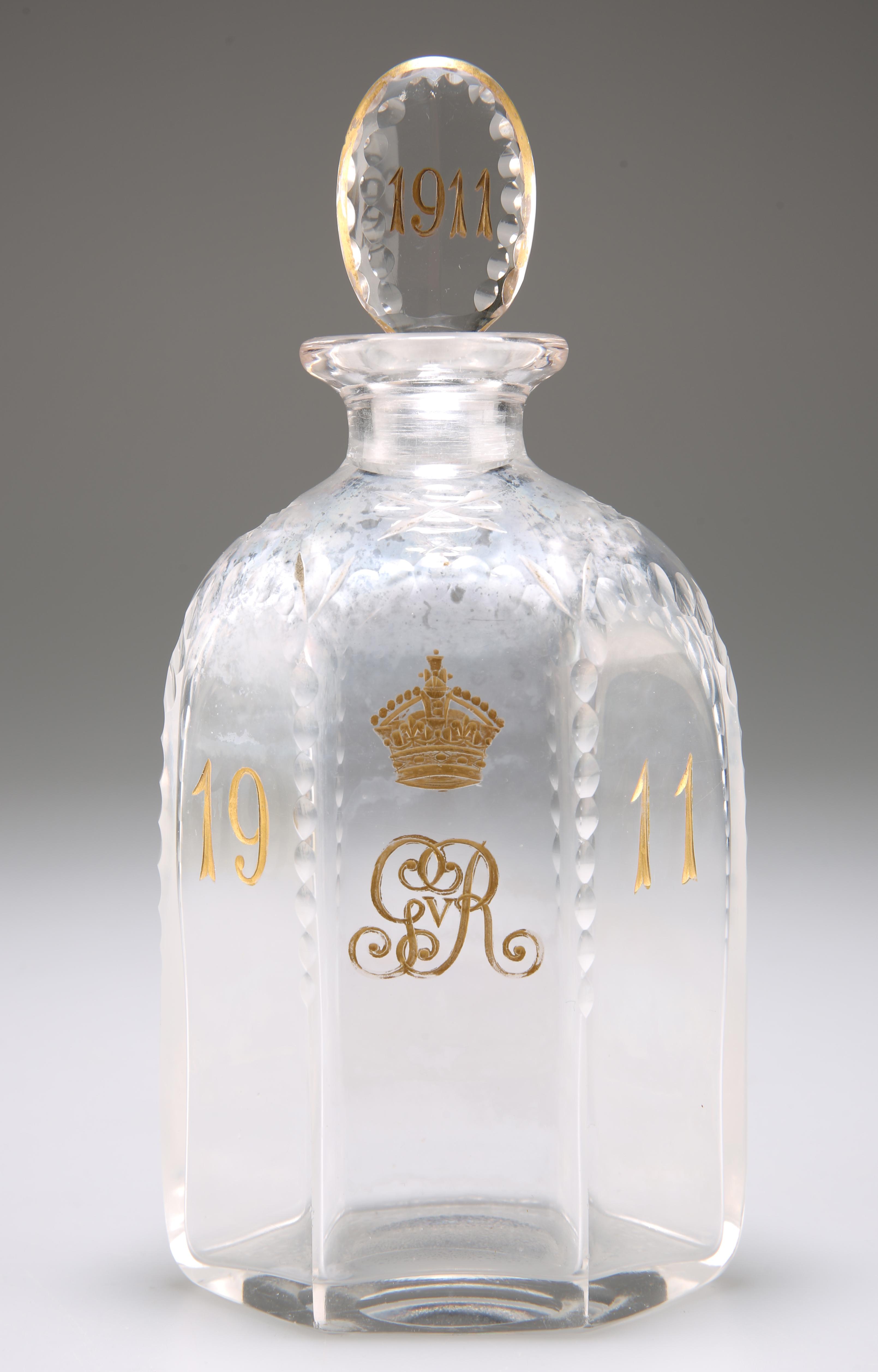 A GEORGE V GLASS CORONATION DECANTER