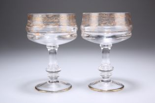 A PAIR OF GLASS PEDESTAL SORBET DISHES