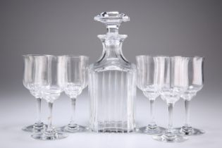 A BACCARAT CRYSTAL DECANTER AND STOPPER WITH SIX GLASSES