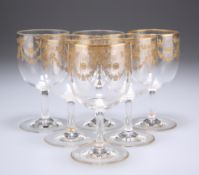 A SET OF SIX GILDED DRINKING GLASSES