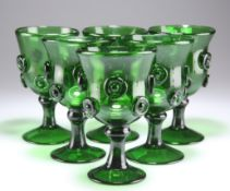 A SET OF SIX LATE 18TH CENTURY GLASS ROEMERS, POSSIBLY BRISTOL