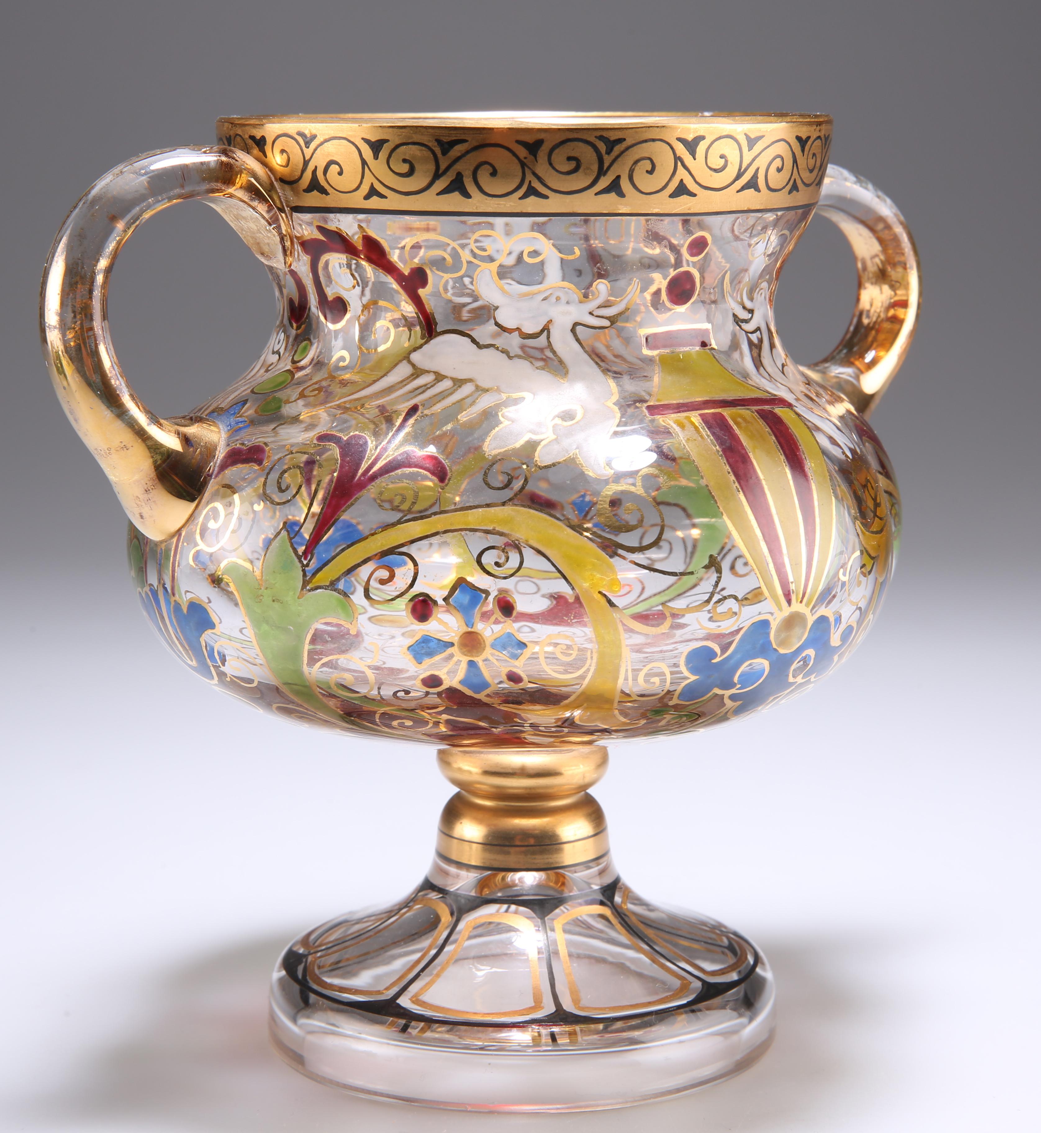 A BOHEMIAN STEINSCHONAU ART NOUVEAU TWO-HANDLED GLASS CUP - Image 3 of 6