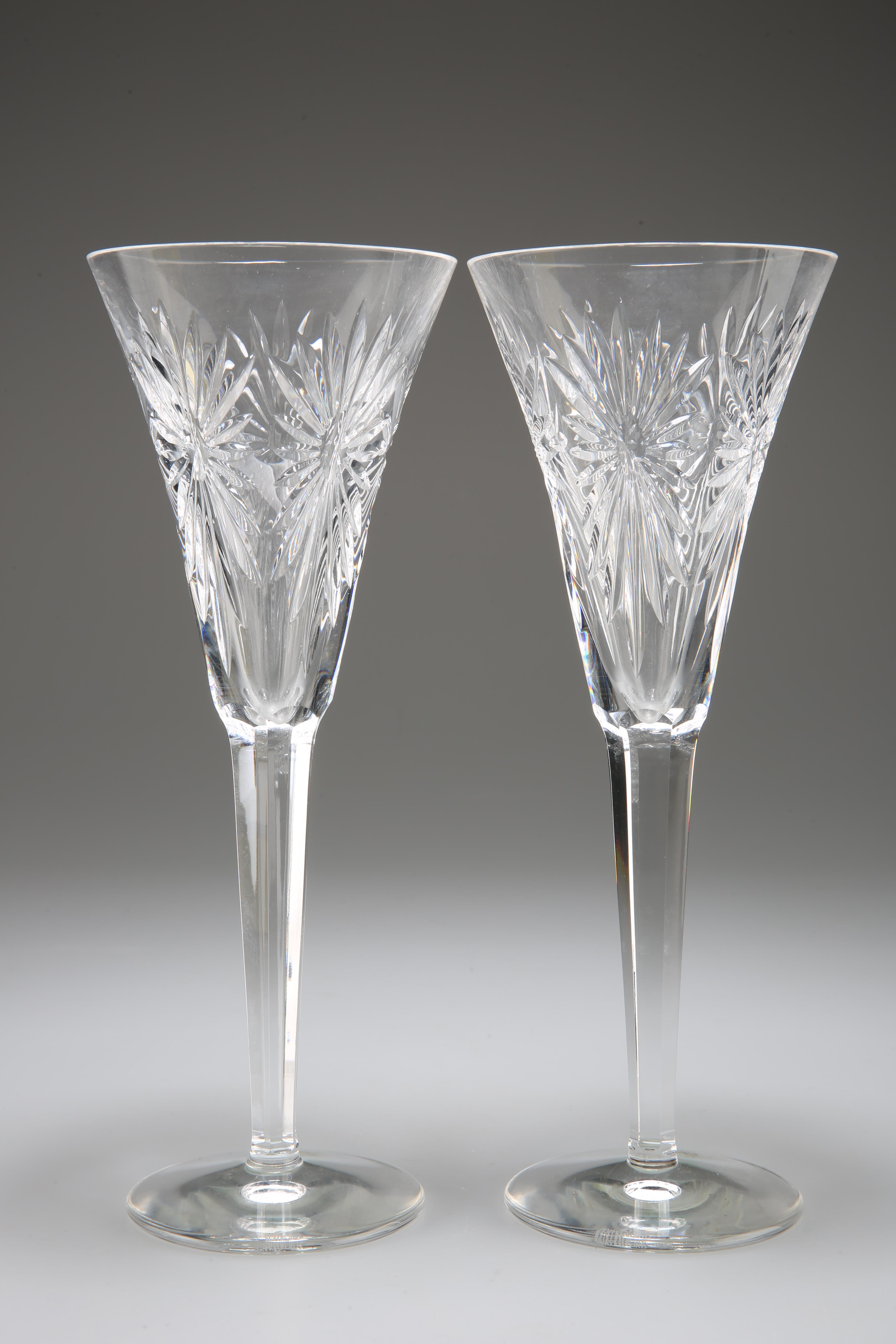 A PAIR OF WATERFORD MILLENNIUM CRYSTAL 'HEALTH' TOASTING CHAMPAGNE GLASSES