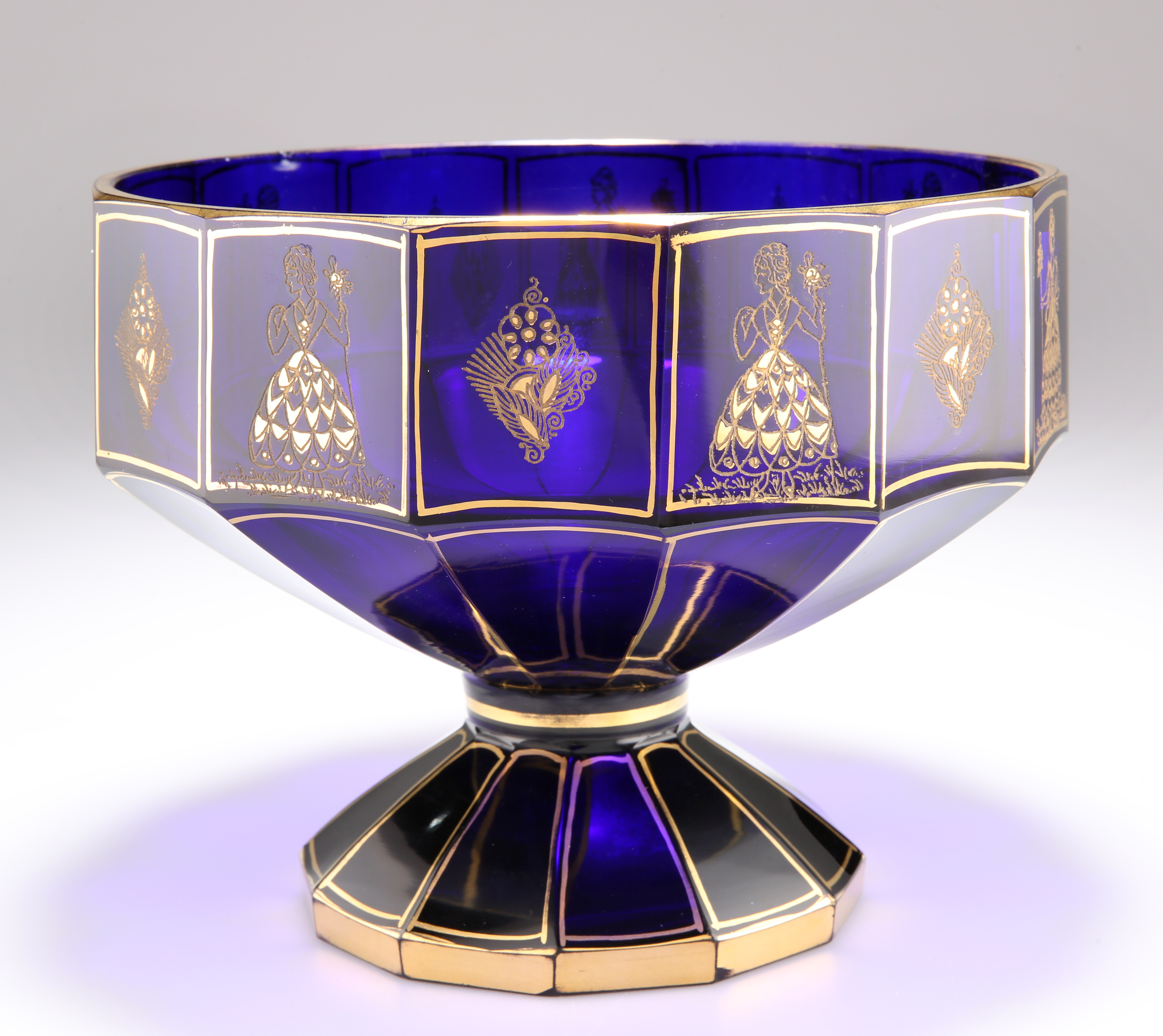 A BOHEMIAN BLUE AND GILT GLASS PEDESTAL BOWL, CIRCA 1875 - Image 2 of 2