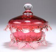 A VICTORIAN CRANBERRY GLASS LIDDED TRINKET DISH