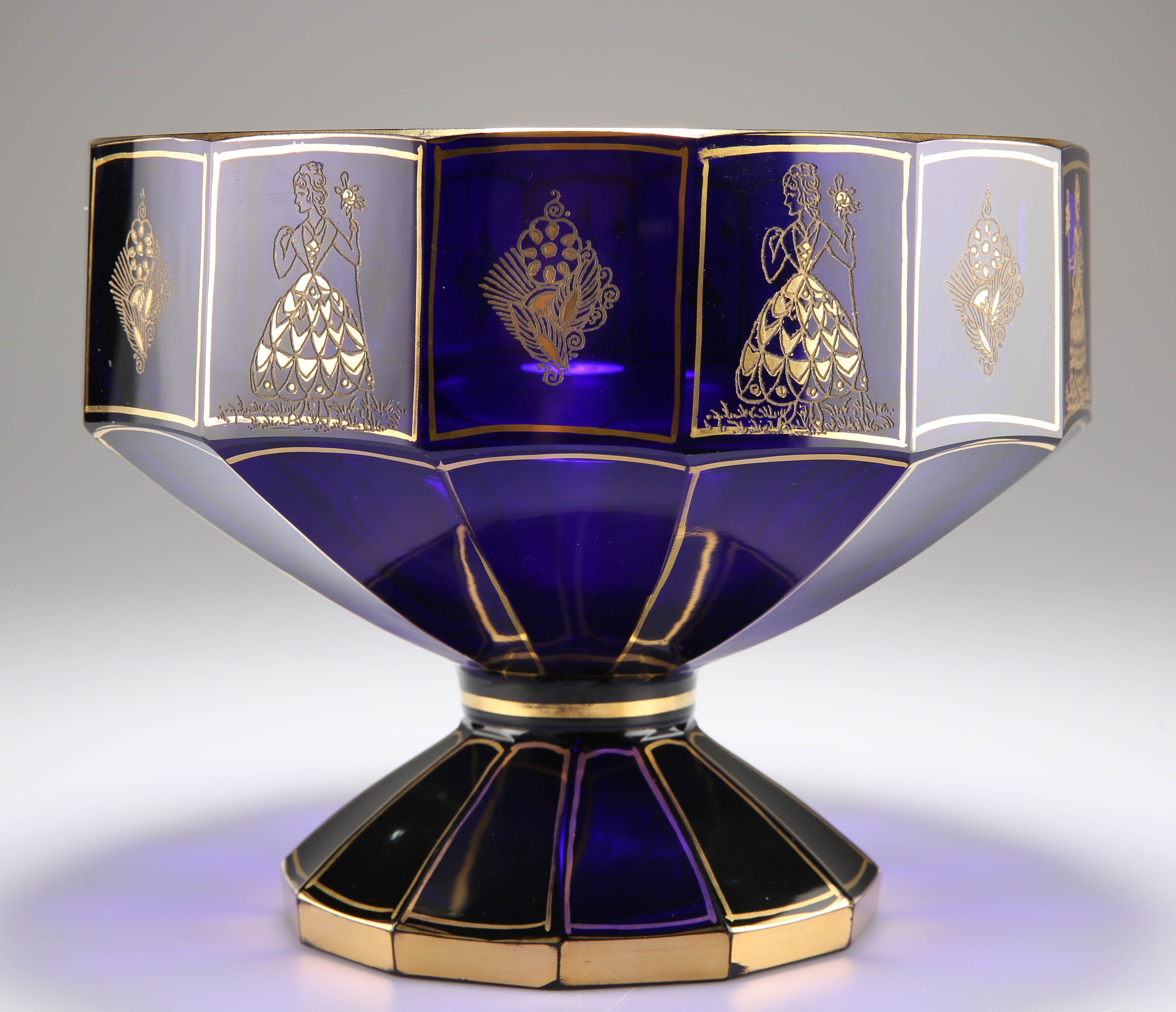 A BOHEMIAN BLUE AND GILT GLASS PEDESTAL BOWL, CIRCA 1875