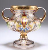 A BOHEMIAN STEINSCHONAU ART NOUVEAU TWO-HANDLED GLASS CUP