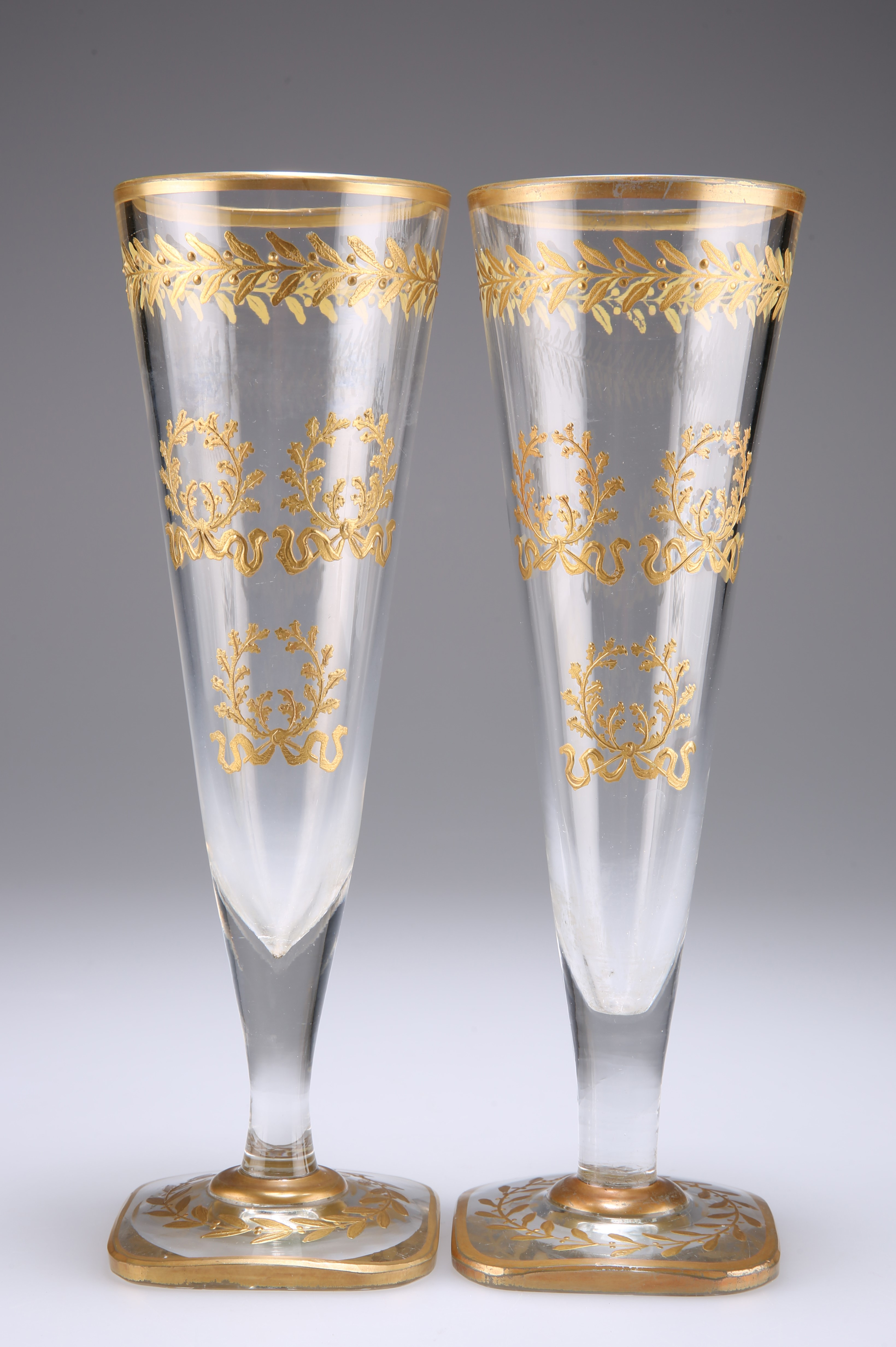 A PAIR OF VERY LARGE BACCARAT FLUTED WINE GLASSES