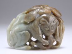 A LARGE CHINESE JADE BELT BUCKLE