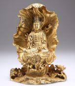 A CHINESE GILT-BRONZE BUDDHA