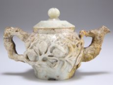 A 19TH CENTURY CHINESE JADE TEAPOT AND COVER