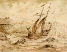 EDWARD DUNCAN (1803-1882), SHIP ENTERING HARBOUR